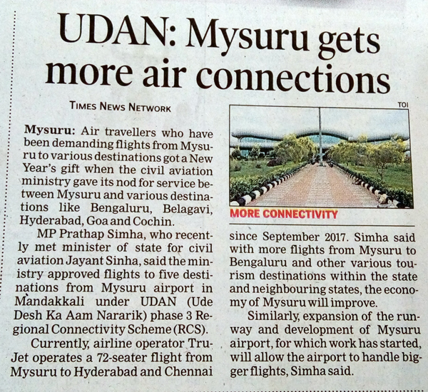 UDAN: Mysuru gets more air connections